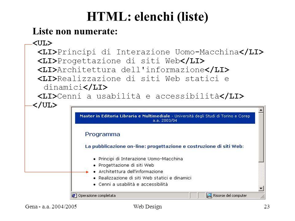 Gena - a.a. 2004/2005Web Design23 HTML: elenchi (liste) Liste non numerate: Principi di Interazione Uomo-Macchina Progettazione di siti Web Architettu