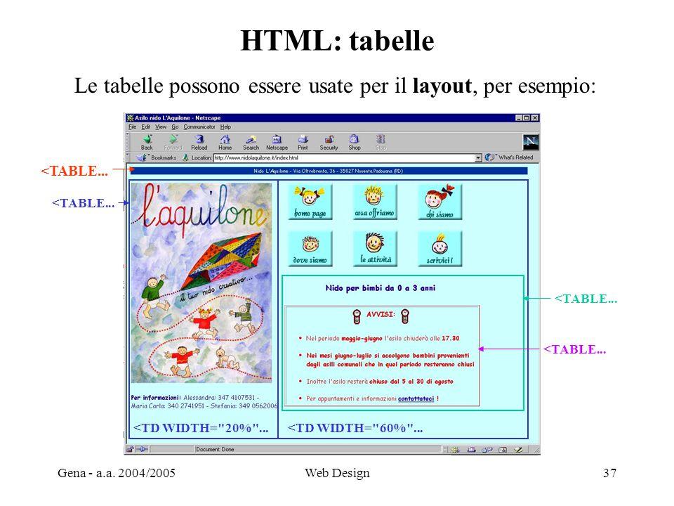 Gena - a.a. 2004/2005Web Design37 HTML: tabelle Le tabelle possono essere usate per il layout, per esempio: <TABLE... <TD WIDTH=