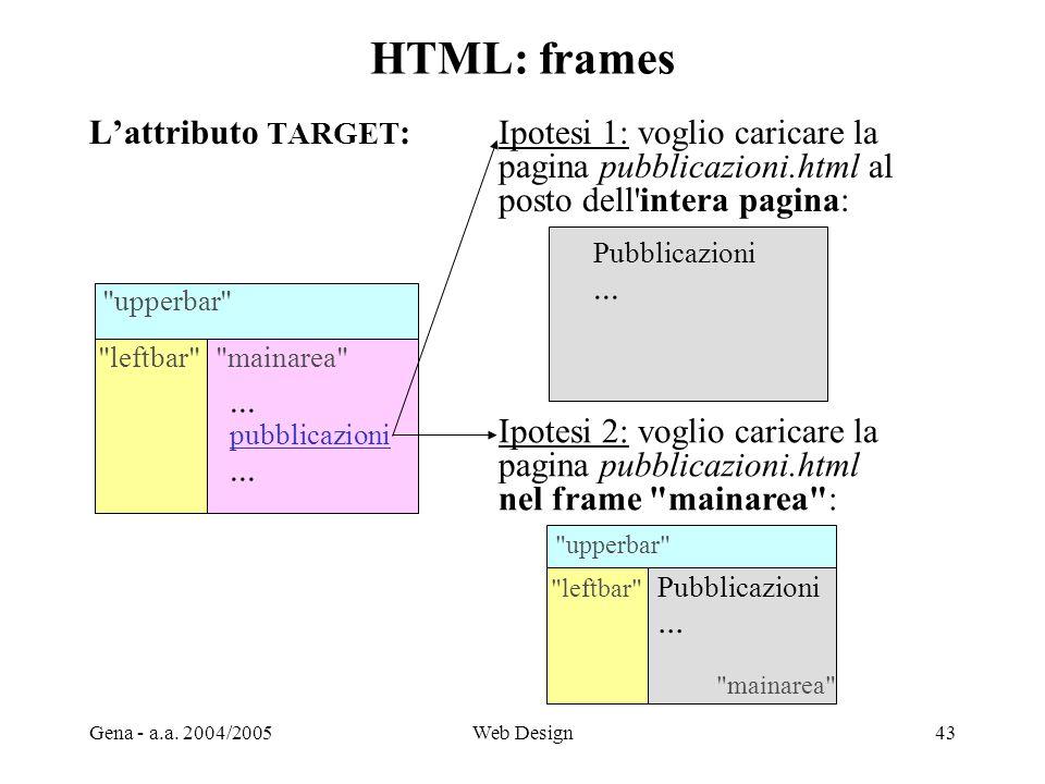 Gena - a.a. 2004/2005Web Design43 HTML: frames L'attributo TARGET :