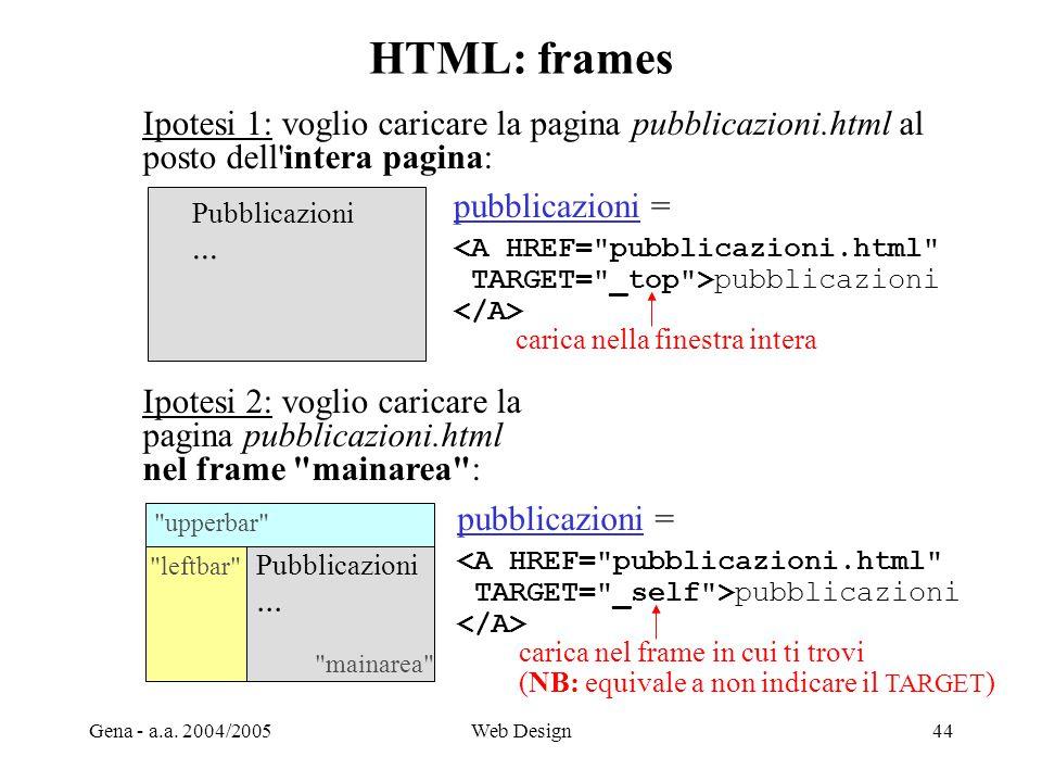 Gena - a.a. 2004/2005Web Design44 HTML: frames Ipotesi 1: voglio caricare la pagina pubblicazioni.html al posto dell'intera pagina: Pubblicazioni... I