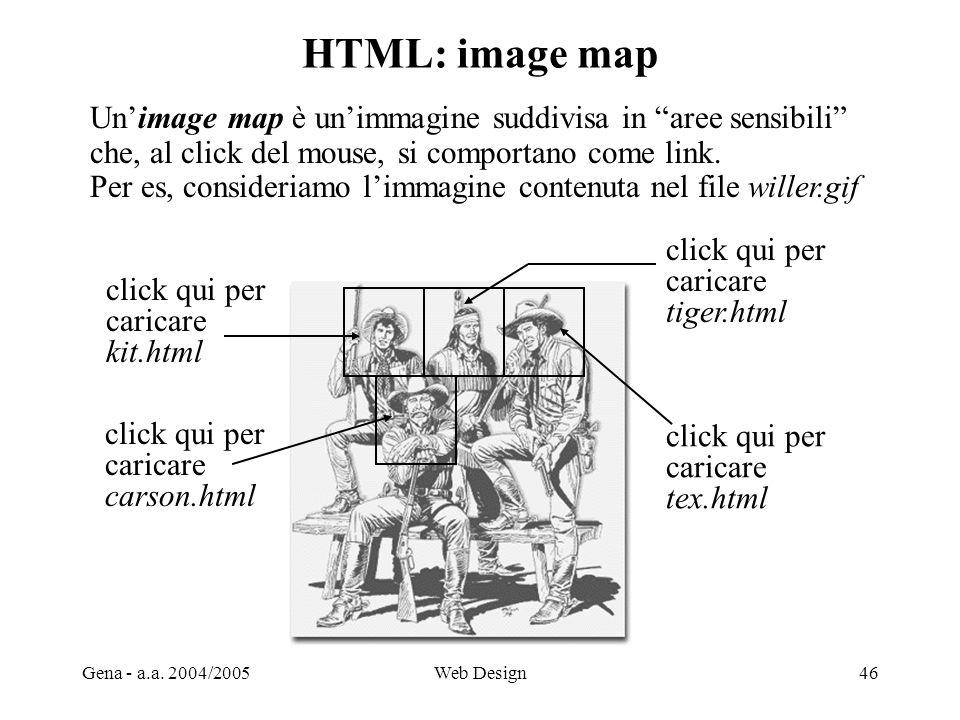 Gena - a.a. 2004/2005Web Design46 HTML: image map click qui per caricare kit.html click qui per caricare tex.html click qui per caricare tiger.html cl