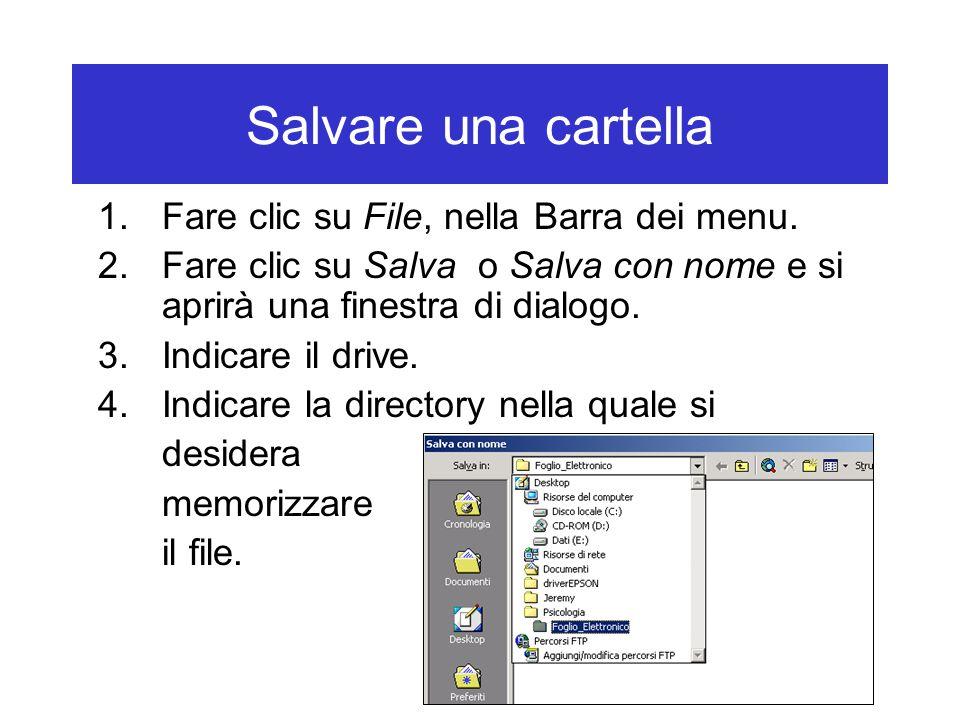 Salvare una cartella 1.Fare clic su File, nella Barra dei menu.