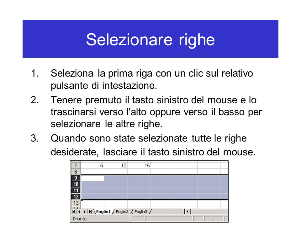 Selezionare righe 1.Seleziona la prima riga con un clic sul relativo pulsante di intestazione.