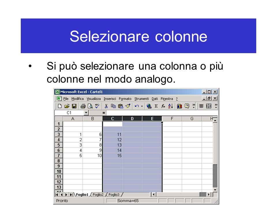 Selezionare colonne Si può selezionare una colonna o più colonne nel modo analogo.