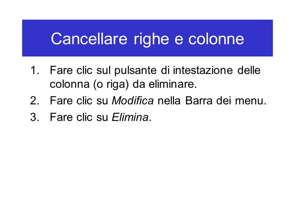 Cancellare righe e colonne 1.Fare clic sul pulsante di intestazione delle colonna (o riga) da eliminare.