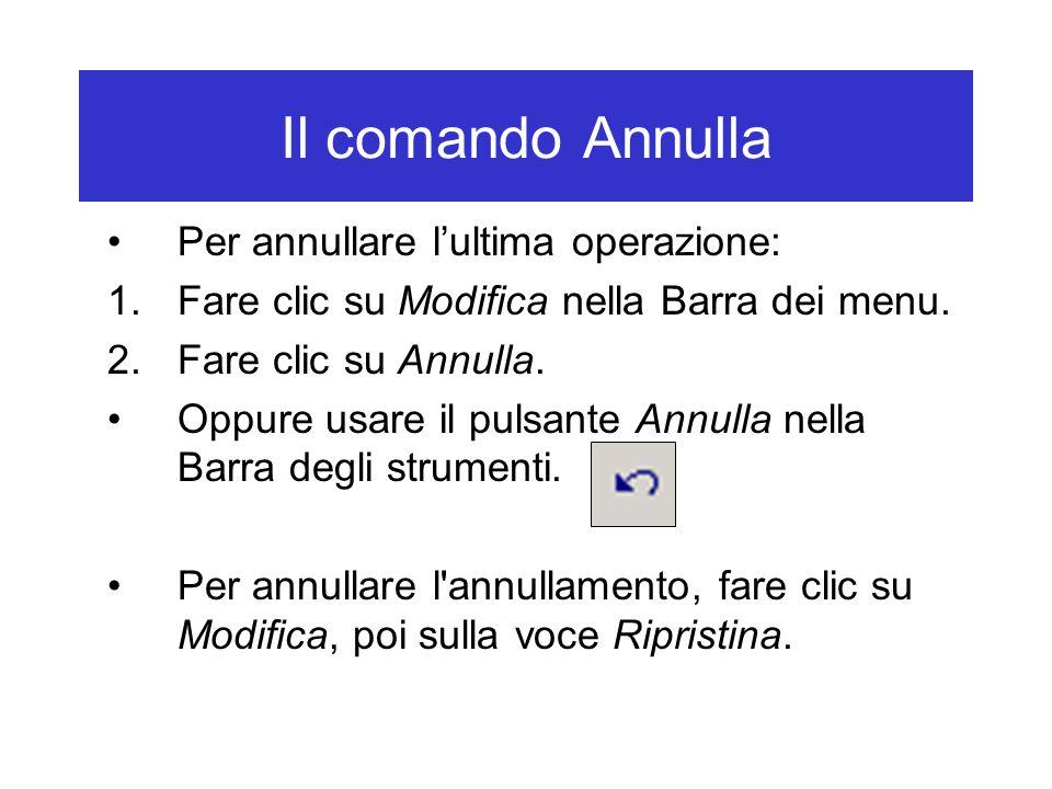 Il comando Annulla Per annullare l'ultima operazione: 1.Fare clic su Modifica nella Barra dei menu.