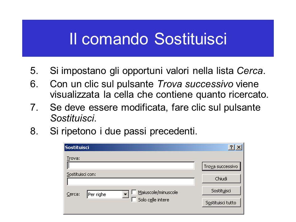 Il comando Sostituisci 5.Si impostano gli opportuni valori nella lista Cerca.
