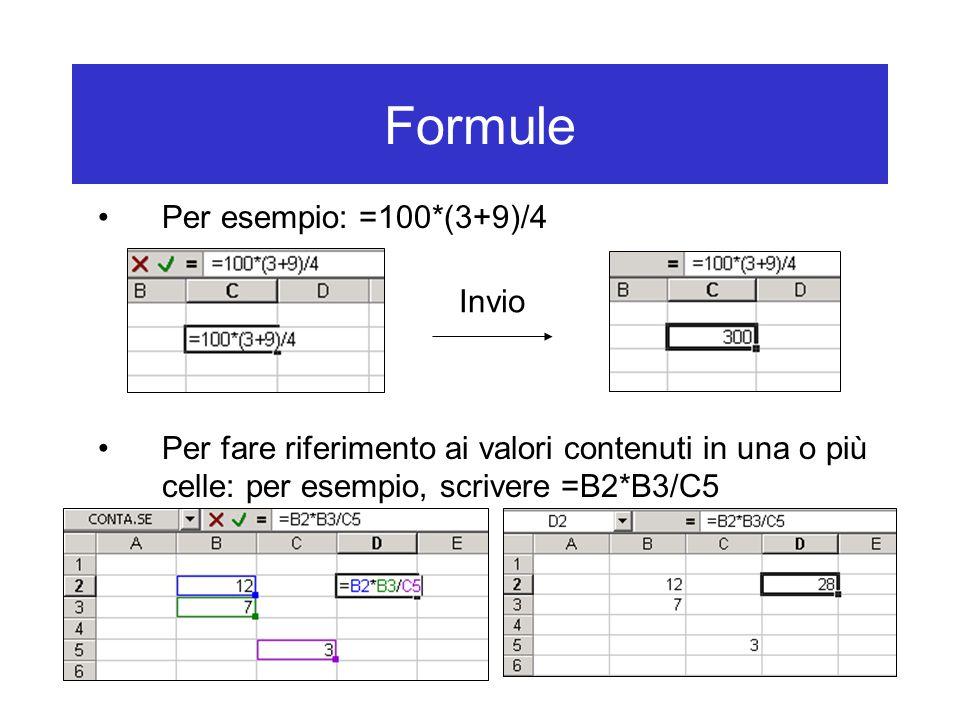 Formule Per esempio: =100*(3+9)/4 Per fare riferimento ai valori contenuti in una o più celle: per esempio, scrivere =B2*B3/C5 Invio