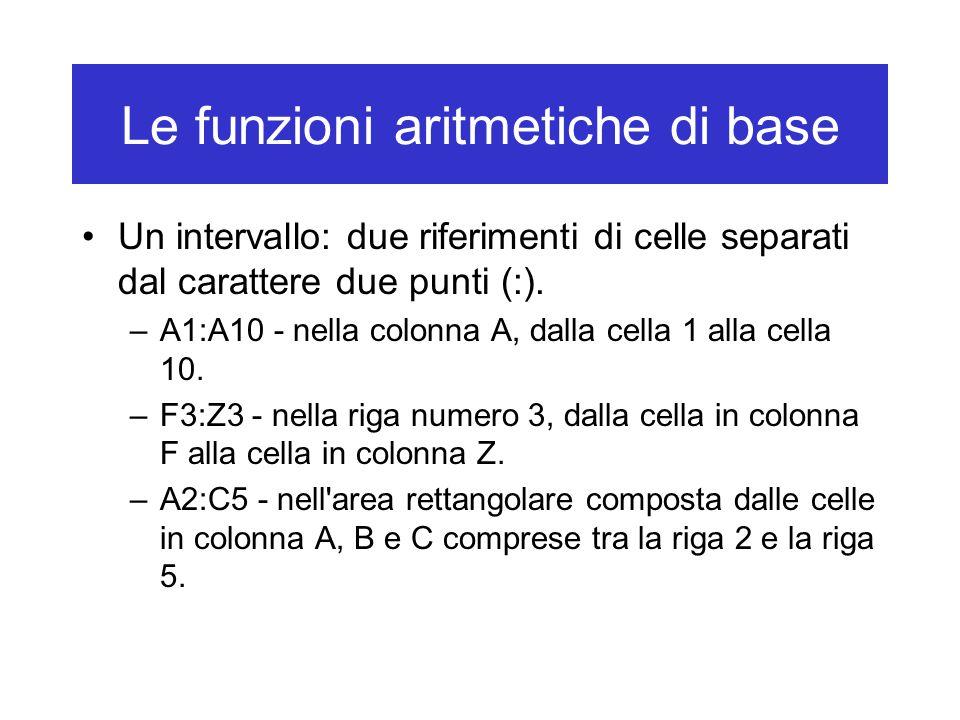 Le funzioni aritmetiche di base Un intervallo: due riferimenti di celle separati dal carattere due punti (:).