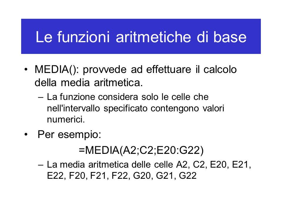 Le funzioni aritmetiche di base MEDIA(): provvede ad effettuare il calcolo della media aritmetica.