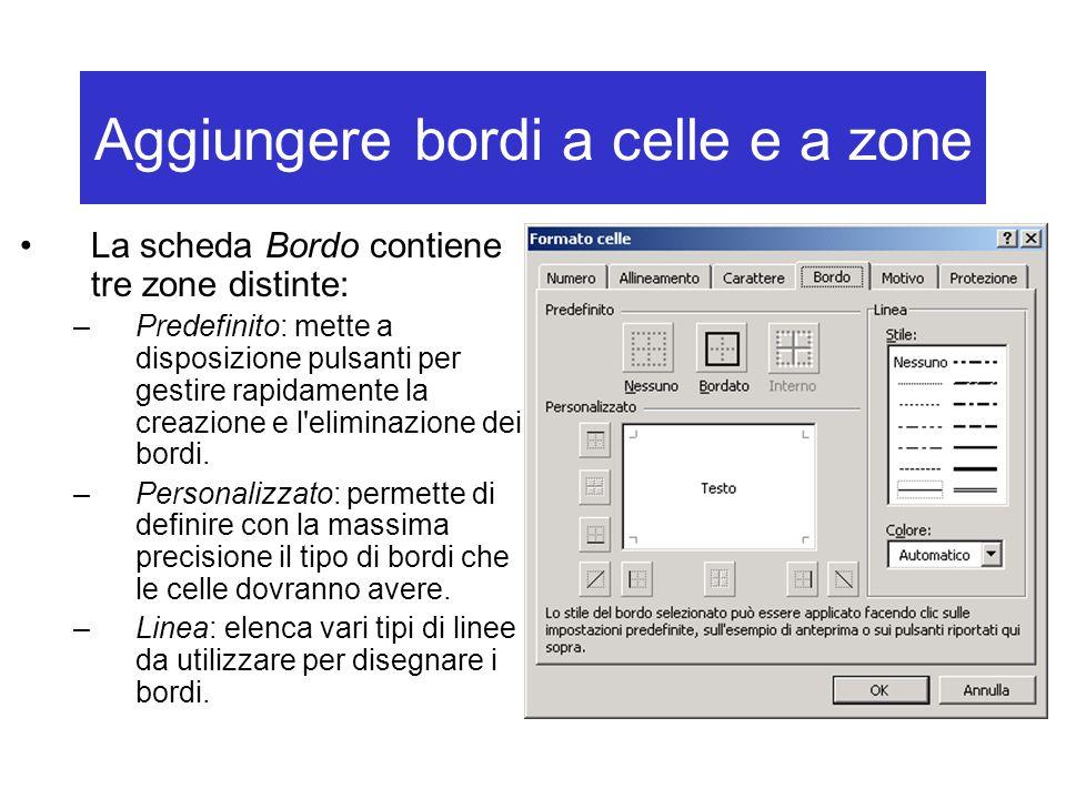 Aggiungere bordi a celle e a zone La scheda Bordo contiene tre zone distinte: –Predefinito: mette a disposizione pulsanti per gestire rapidamente la creazione e l eliminazione dei bordi.