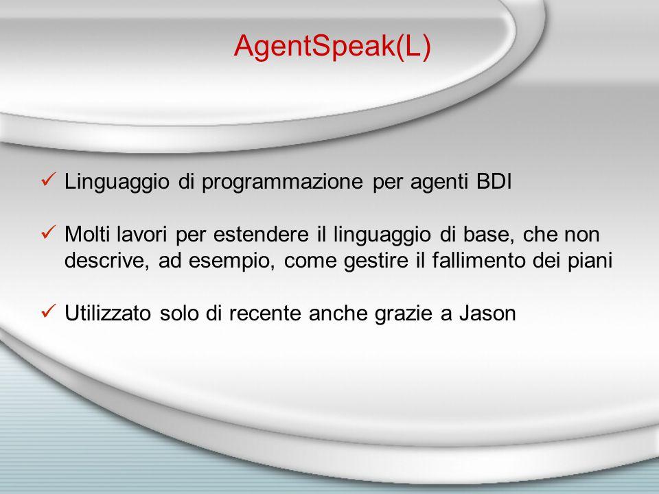 Linguaggio di programmazione per agenti BDI Molti lavori per estendere il linguaggio di base, che non descrive, ad esempio, come gestire il fallimento dei piani Utilizzato solo di recente anche grazie a Jason AgentSpeak(L)