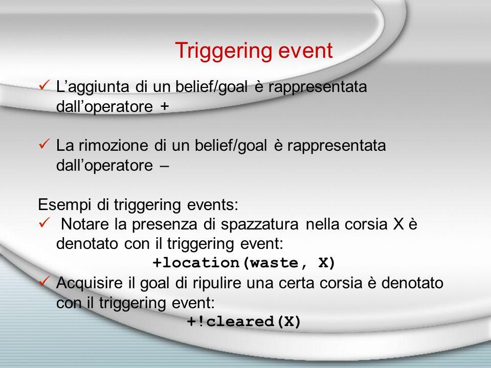Triggering event L'aggiunta di un belief/goal è rappresentata dall'operatore + La rimozione di un belief/goal è rappresentata dall'operatore – Esempi di triggering events: Notare la presenza di spazzatura nella corsia X è denotato con il triggering event: +location(waste, X) Acquisire il goal di ripulire una certa corsia è denotato con il triggering event: +!cleared(X)