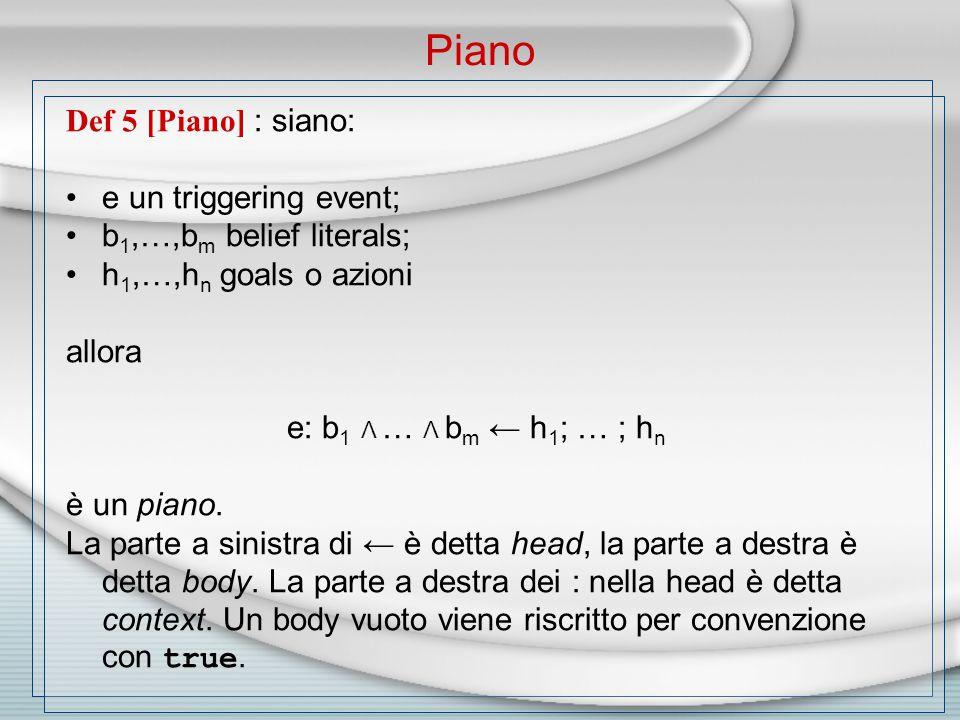 Def 5 [Piano] : siano: e un triggering event; b 1,…,b m belief literals; h 1,…,h n goals o azioni allora e: b 1 Λ … Λ b m ← h 1 ; … ; h n è un piano.