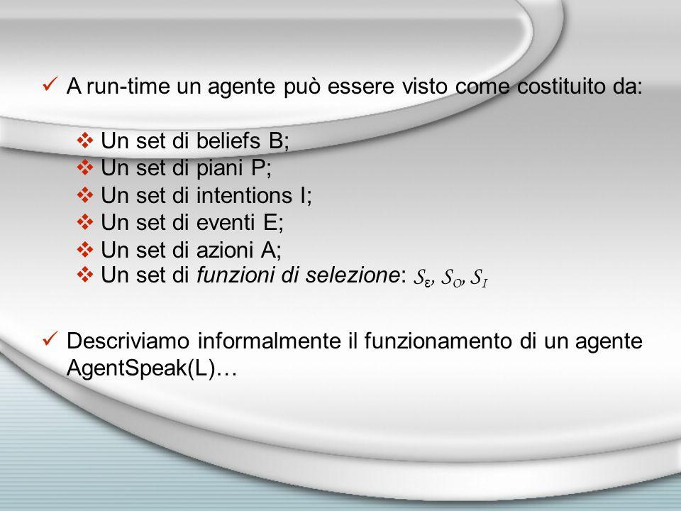A run-time un agente può essere visto come costituito da:  Un set di beliefs B;  Un set di piani P;  Un set di intentions I;  Un set di eventi E;  Un set di azioni A;  Un set di funzioni di selezione: S ε, S O, S I Descriviamo informalmente il funzionamento di un agente AgentSpeak(L)…