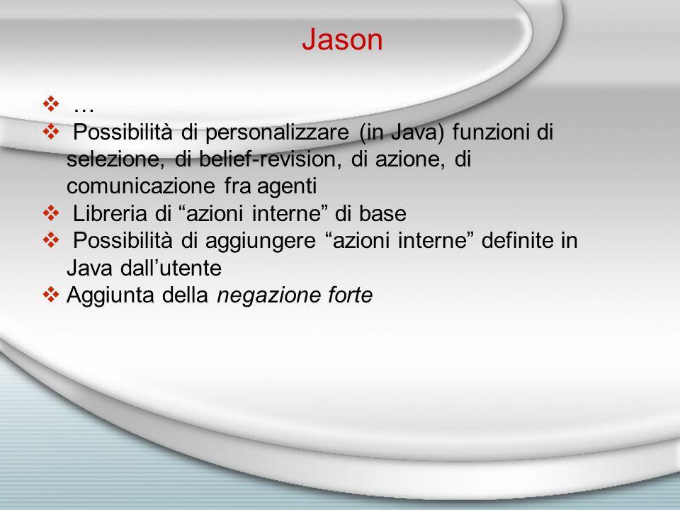  Possibilità di personalizzare (in Java) funzioni di selezione, di belief-revision, di azione, di comunicazione fra agenti  Libreria di azioni interne di base  Possibilità di aggiungere azioni interne definite in Java dall'utente  Aggiunta della negazione forte Jason