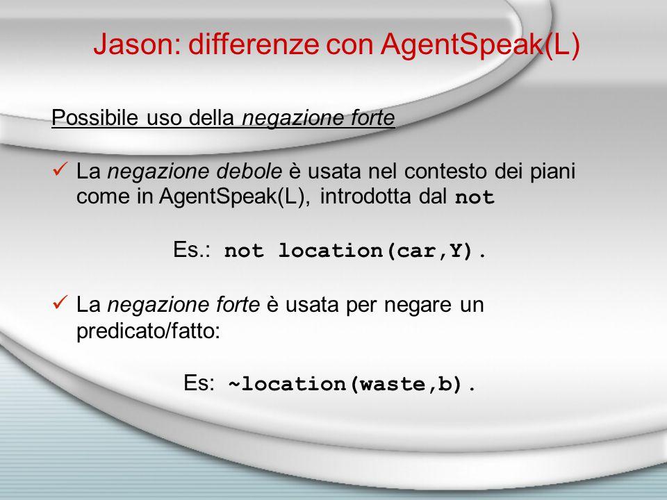 Jason: differenze con AgentSpeak(L) Possibile uso della negazione forte La negazione debole è usata nel contesto dei piani come in AgentSpeak(L), introdotta dal not Es.: not location(car,Y).