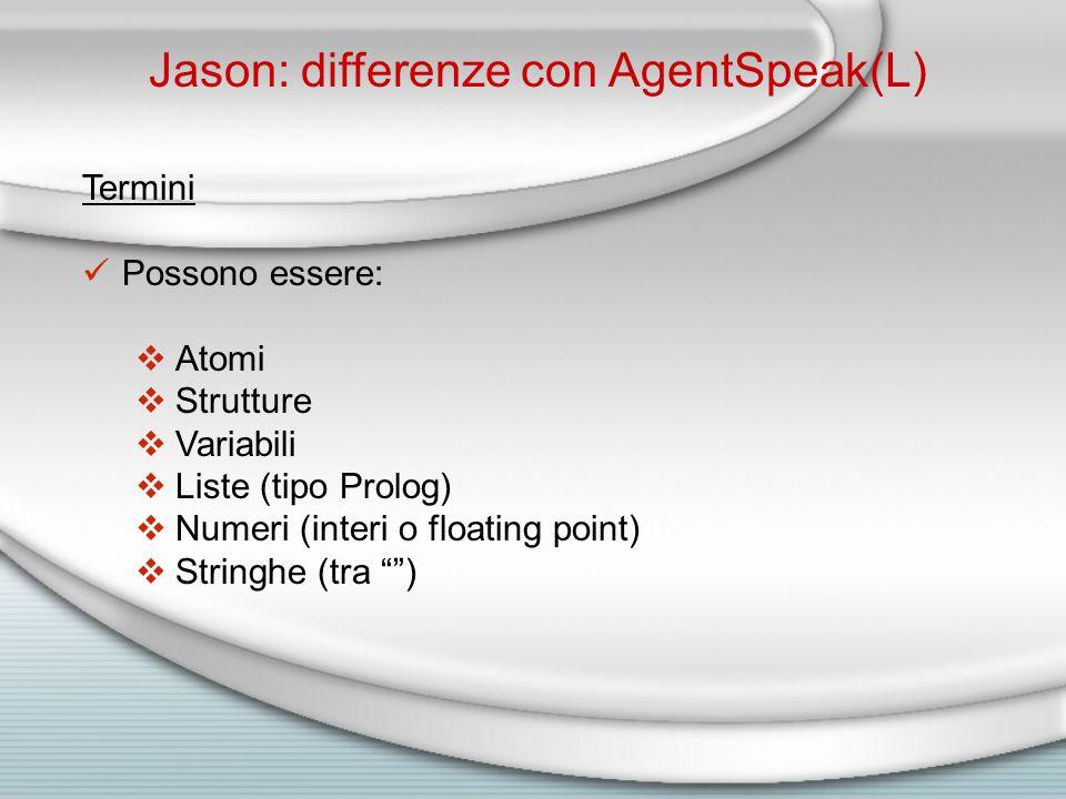 Jason: differenze con AgentSpeak(L) Termini Possono essere:  Atomi  Strutture  Variabili  Liste (tipo Prolog)  Numeri (interi o floating point)  Stringhe (tra )