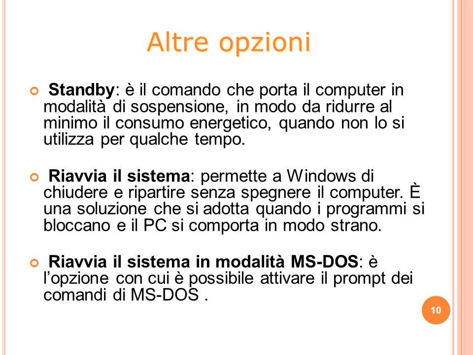 Standby: è il comando che porta il computer in modalità di sospensione, in modo da ridurre al minimo il consumo energetico, quando non lo si utilizza per qualche tempo.
