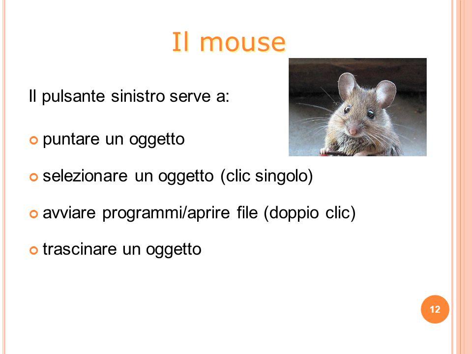 Il pulsante sinistro serve a: puntare un oggetto selezionare un oggetto (clic singolo) avviare programmi/aprire file (doppio clic) trascinare un oggetto 12 Il mouse