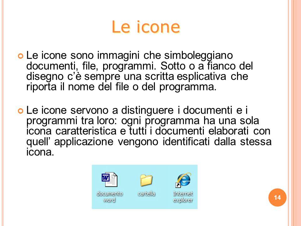 14 Le icone sono immagini che simboleggiano documenti, file, programmi.