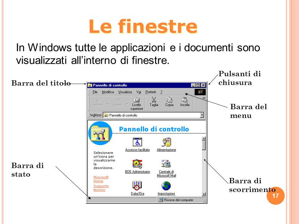 17 In Windows tutte le applicazioni e i documenti sono visualizzati all'interno di finestre. Barra del titolo Barra di stato Pulsanti di chiusura Barr