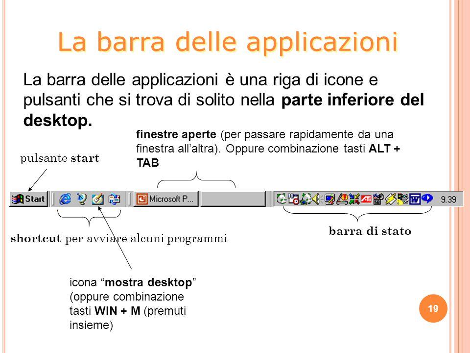 19 La barra delle applicazioni è una riga di icone e pulsanti che si trova di solito nella parte inferiore del desktop. pulsante start finestre aperte