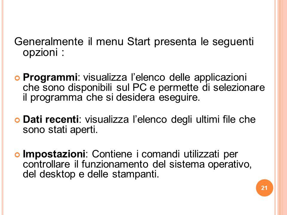Generalmente il menu Start presenta le seguenti opzioni : Programmi: visualizza l'elenco delle applicazioni che sono disponibili sul PC e permette di selezionare il programma che si desidera eseguire.