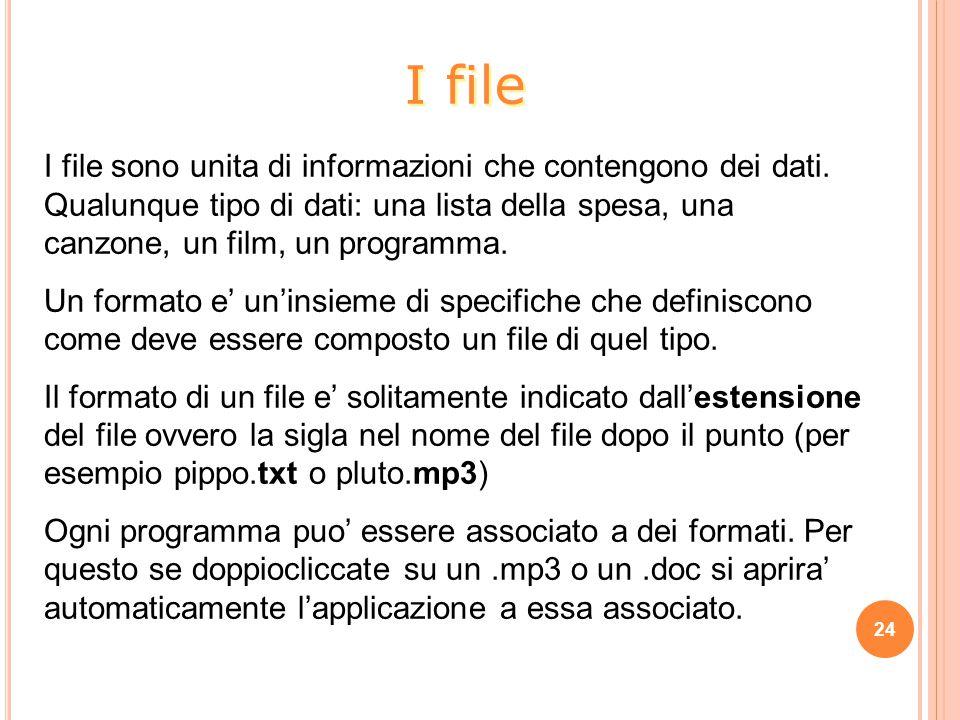 I file sono unita di informazioni che contengono dei dati. Qualunque tipo di dati: una lista della spesa, una canzone, un film, un programma. Un forma