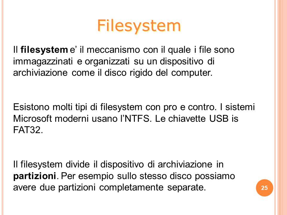 Il filesystem e' il meccanismo con il quale i file sono immagazzinati e organizzati su un dispositivo di archiviazione come il disco rigido del computer.