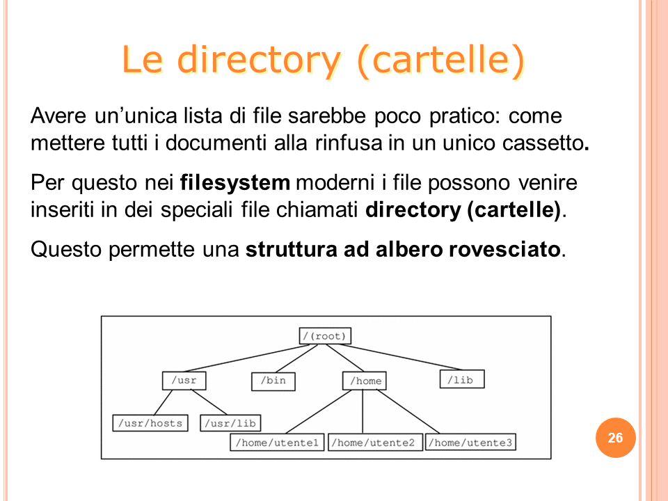 Avere un'unica lista di file sarebbe poco pratico: come mettere tutti i documenti alla rinfusa in un unico cassetto. Per questo nei filesystem moderni