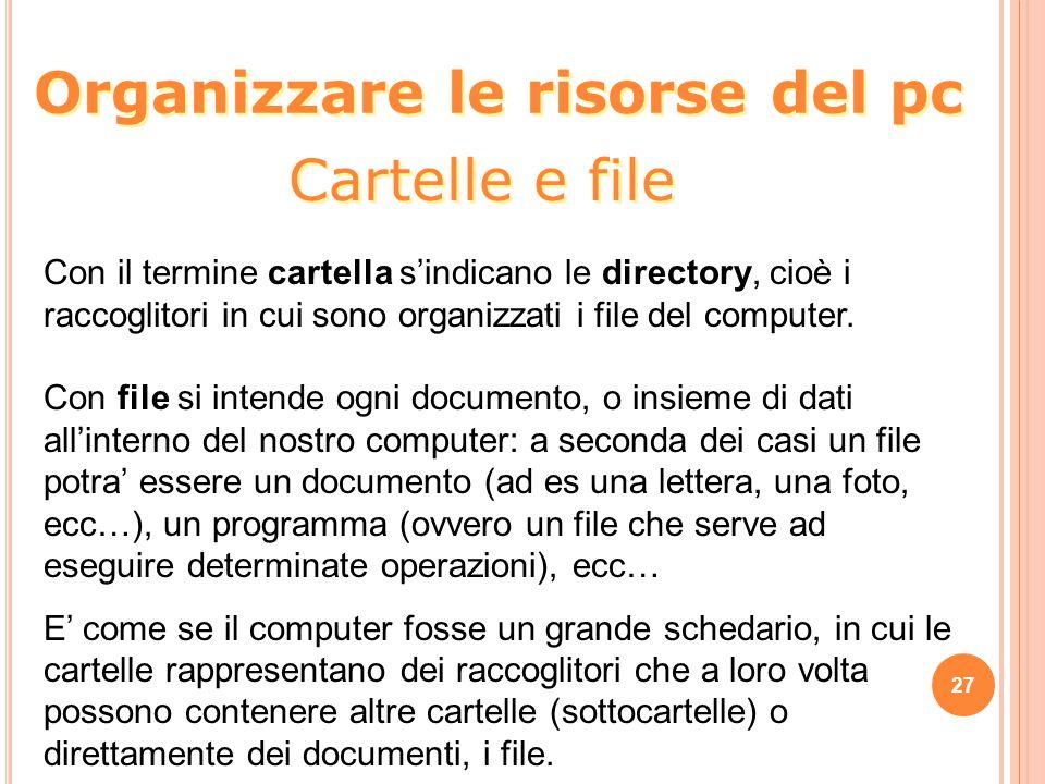 27 Con il termine cartella s'indicano le directory, cioè i raccoglitori in cui sono organizzati i file del computer. Con file si intende ogni document