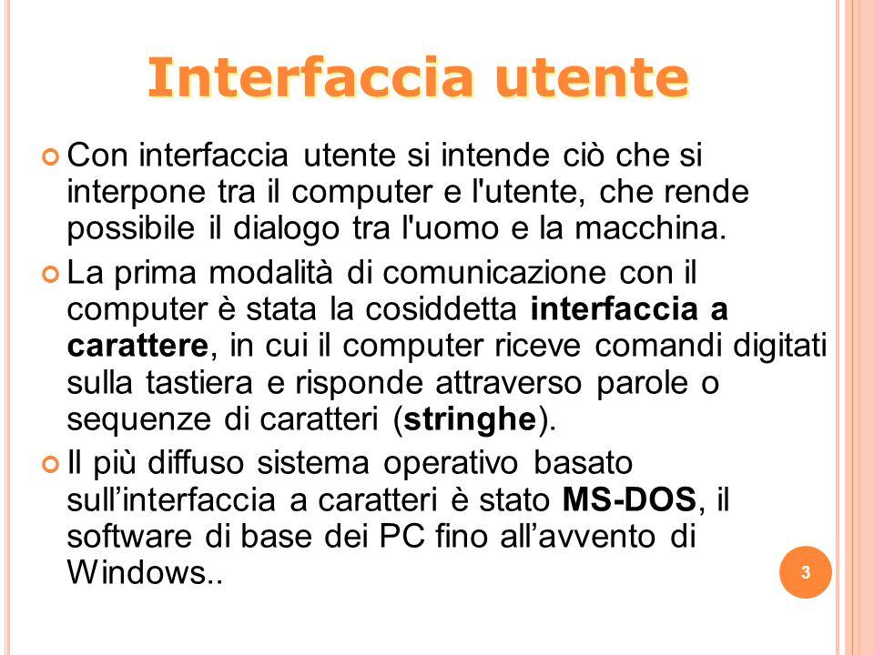 Interfaccia utente Con interfaccia utente si intende ciò che si interpone tra il computer e l utente, che rende possibile il dialogo tra l uomo e la macchina.