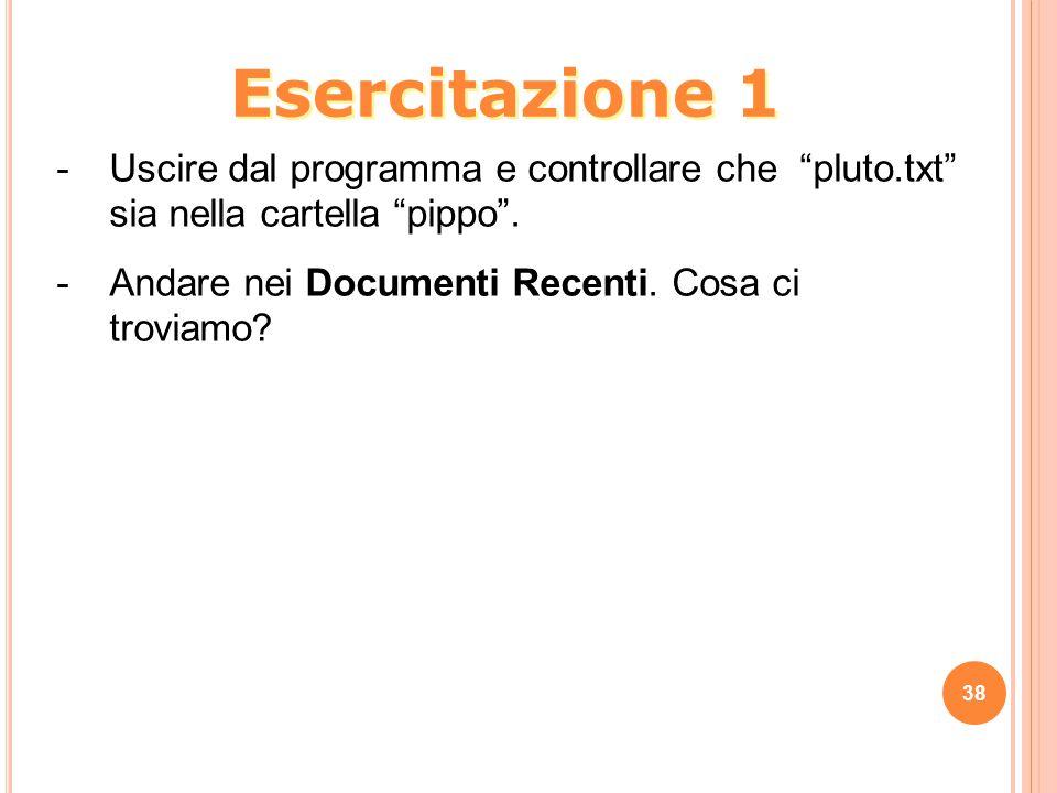 38 -Uscire dal programma e controllare che pluto.txt sia nella cartella pippo .