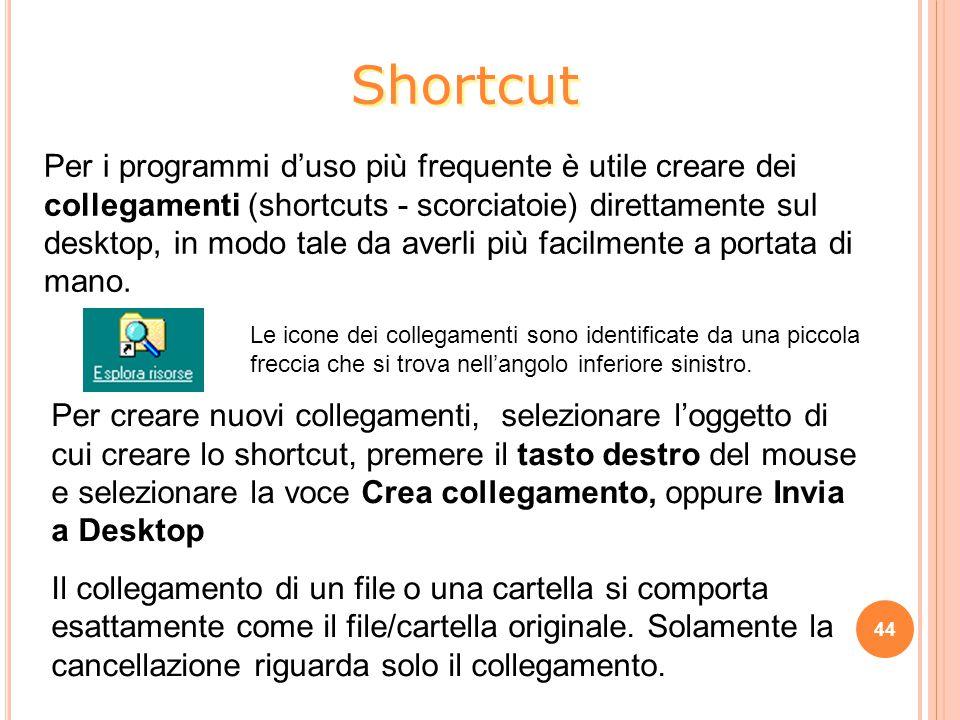 Per i programmi d'uso più frequente è utile creare dei collegamenti (shortcuts - scorciatoie) direttamente sul desktop, in modo tale da averli più facilmente a portata di mano.