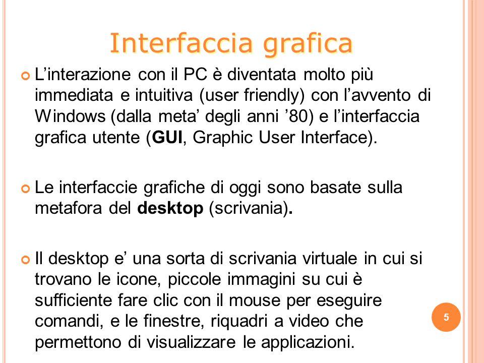 L'interazione con il PC è diventata molto più immediata e intuitiva (user friendly) con l'avvento di Windows (dalla meta' degli anni '80) e l'interfaccia grafica utente (GUI, Graphic User Interface).