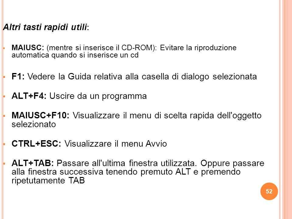 52 Altri tasti rapidi utili :  MAIUSC: (mentre si inserisce il CD-ROM): Evitare la riproduzione automatica quando si inserisce un cd  F1: Vedere la Guida relativa alla casella di dialogo selezionata  ALT+F4: Uscire da un programma  MAIUSC+F10: Visualizzare il menu di scelta rapida dell oggetto selezionato  CTRL+ESC: Visualizzare il menu Avvio  ALT+TAB: Passare all ultima finestra utilizzata.