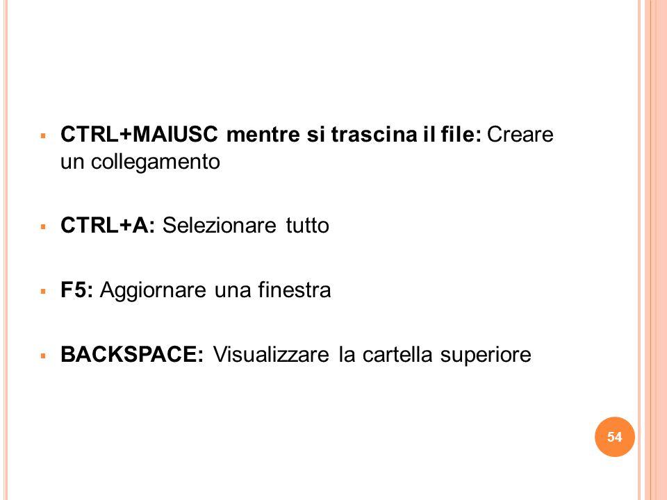  CTRL+MAIUSC mentre si trascina il file: Creare un collegamento  CTRL+A: Selezionare tutto  F5: Aggiornare una finestra  BACKSPACE: Visualizzare l