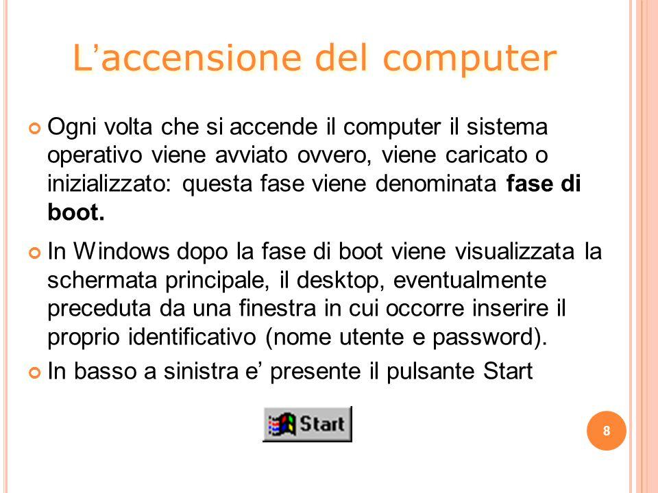 8 Ogni volta che si accende il computer il sistema operativo viene avviato ovvero, viene caricato o inizializzato: questa fase viene denominata fase di boot.