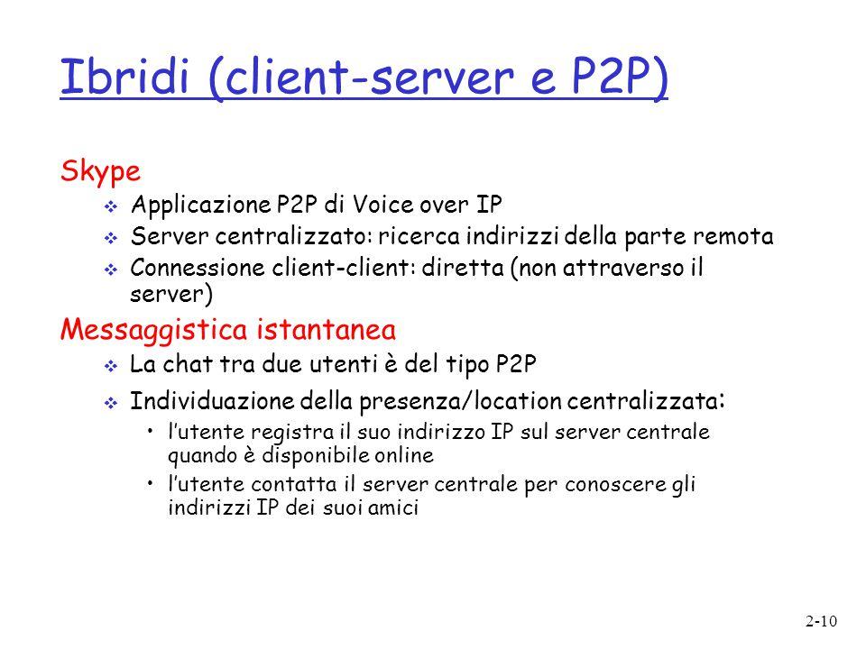 2-10 Ibridi (client-server e P2P) Skype  Applicazione P2P di Voice over IP  Server centralizzato: ricerca indirizzi della parte remota  Connessione