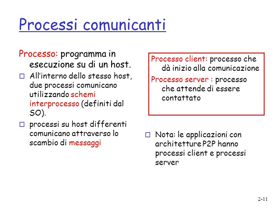 2-11 Processi comunicanti Processo: programma in esecuzione su di un host. o All'interno dello stesso host, due processi comunicano utilizzando schemi