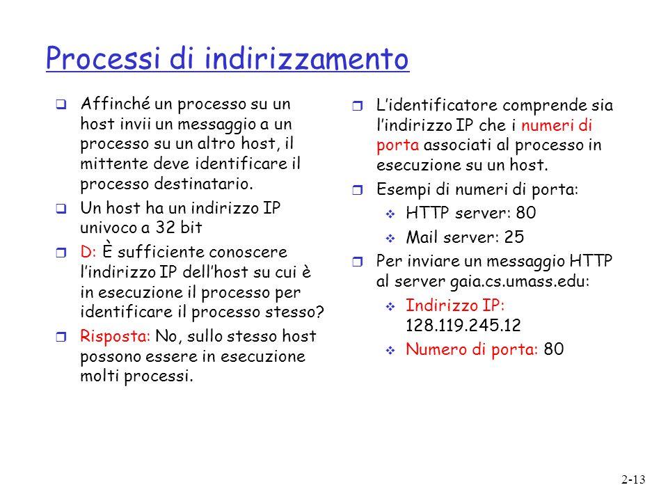 2-13 Processi di indirizzamento  Affinché un processo su un host invii un messaggio a un processo su un altro host, il mittente deve identificare il
