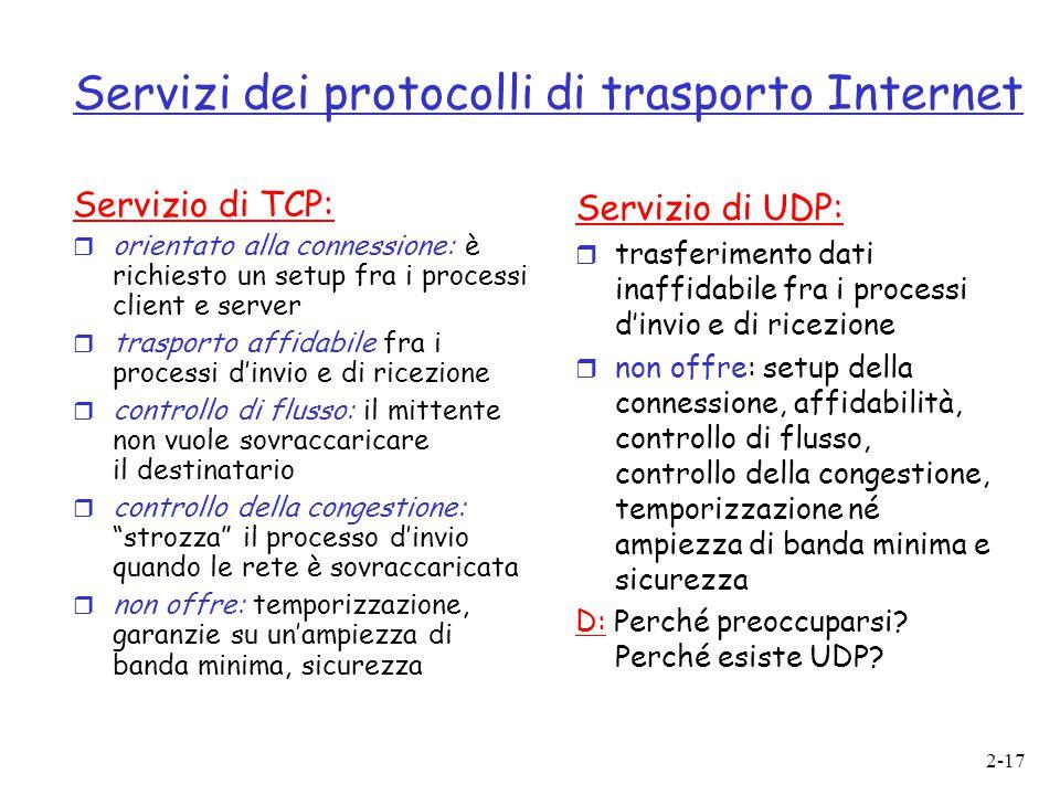 2-17 Servizi dei protocolli di trasporto Internet Servizio di TCP:  orientato alla connessione: è richiesto un setup fra i processi client e server 