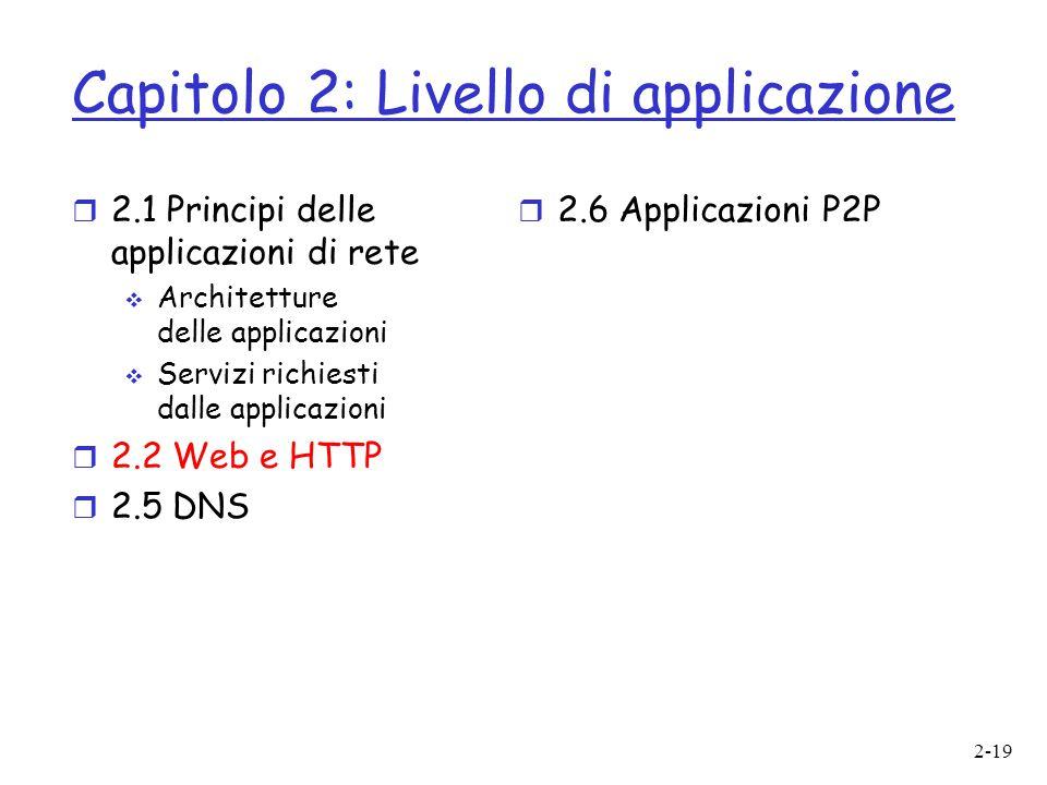 2-19 Capitolo 2: Livello di applicazione  2.1 Principi delle applicazioni di rete  Architetture delle applicazioni  Servizi richiesti dalle applica