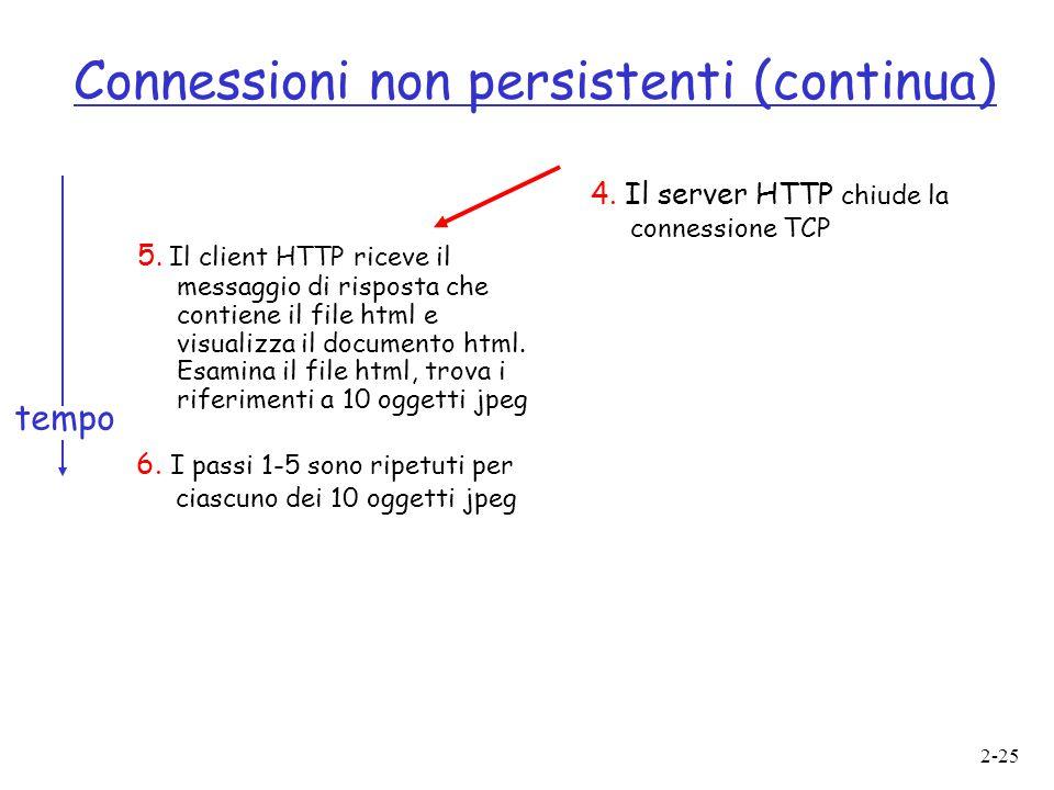 2-25 Connessioni non persistenti (continua) 5. Il client HTTP riceve il messaggio di risposta che contiene il file html e visualizza il documento html