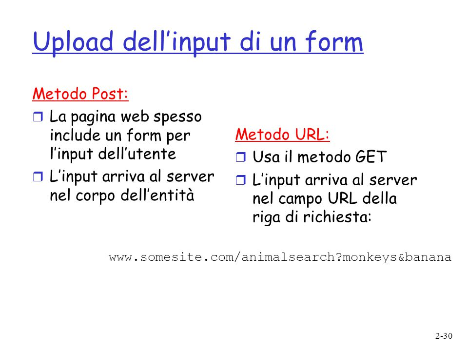 2-30 Upload dell'input di un form Metodo Post:  La pagina web spesso include un form per l'input dell'utente  L'input arriva al server nel corpo dell'entità Metodo URL:  Usa il metodo GET  L'input arriva al server nel campo URL della riga di richiesta: www.somesite.com/animalsearch?monkeys&banana