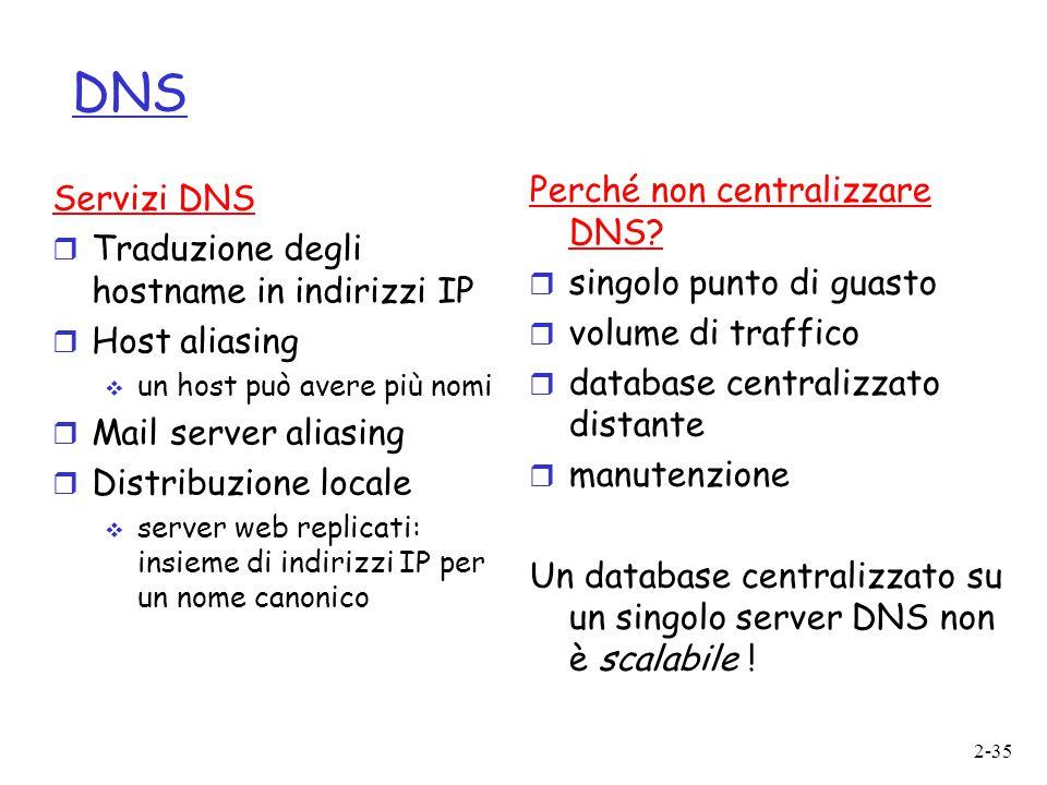 2-35 DNS Perché non centralizzare DNS?  singolo punto di guasto  volume di traffico  database centralizzato distante  manutenzione Un database cen