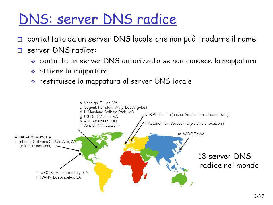 2-37 DNS: server DNS radice  contattato da un server DNS locale che non può tradurre il nome  server DNS radice:  contatta un server DNS autorizzat