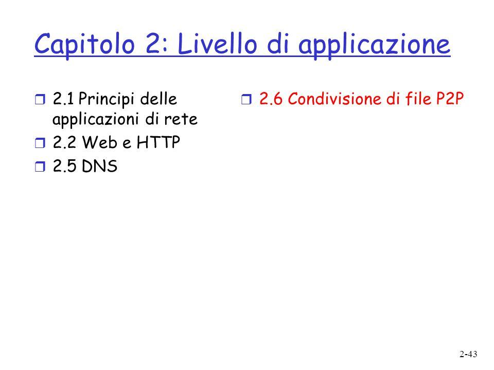 2-43 Capitolo 2: Livello di applicazione  2.1 Principi delle applicazioni di rete  2.2 Web e HTTP  2.5 DNS  2.6 Condivisione di file P2P
