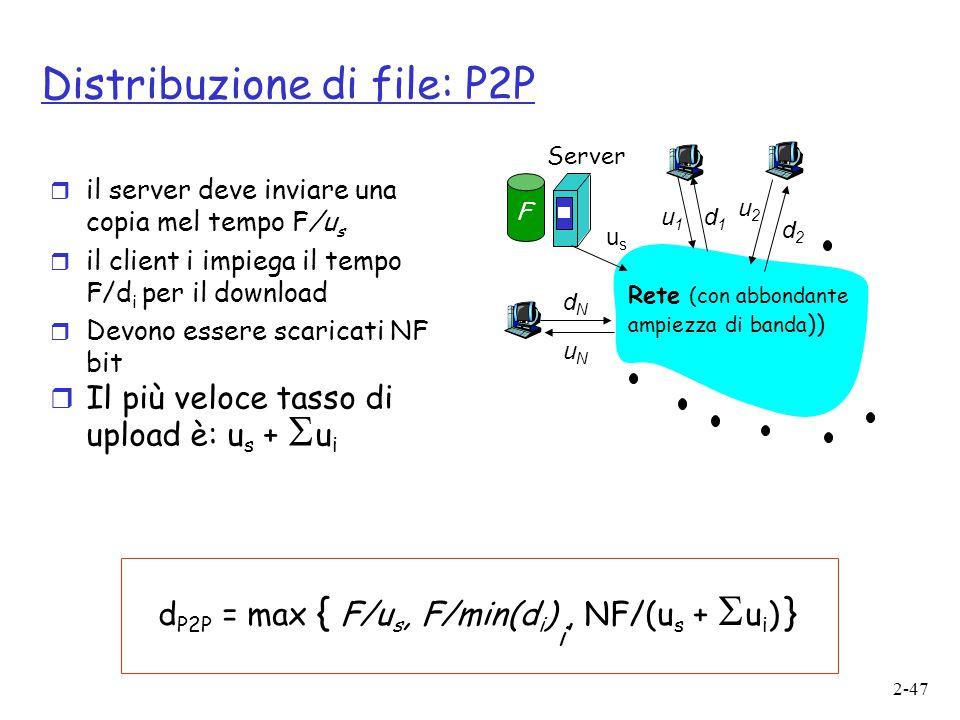 2-47 Distribuzione di file: P2P usus u2u2 d1d1 d2d2 u1u1 uNuN dNdN Server Rete (con abbondante ampiezza di banda )) F r il server deve inviare una cop
